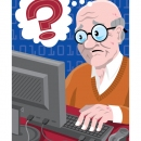 Older Adult at a computer, CLIENT: Wall Street Journal