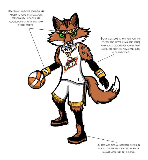 WNBA Shock mascot design, Client: WNBA