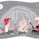 Kids Enjoying a Campfire