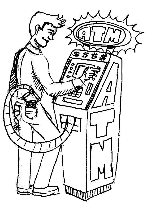 bank teller cartoon