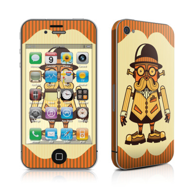 Moustachebot iphone4 Skin by Tim Goldman
