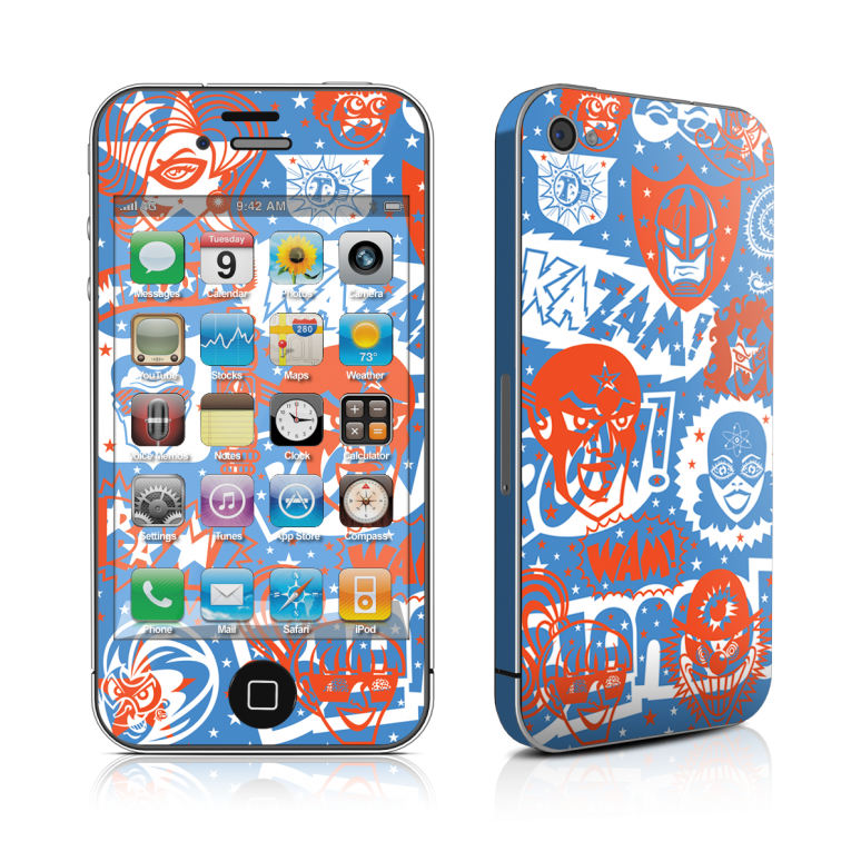 comic_hero_iphone_4_4s_skin_glossy_finish